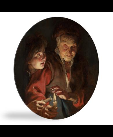 Oude vrouw en jongen met kaarsen - Schilderij van Peter Paul Rubens wandcirkel