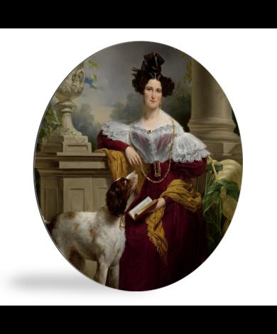 Portret van Alida Christina Assink - Schilderij van Jan Adam Kruseman wandcirkel