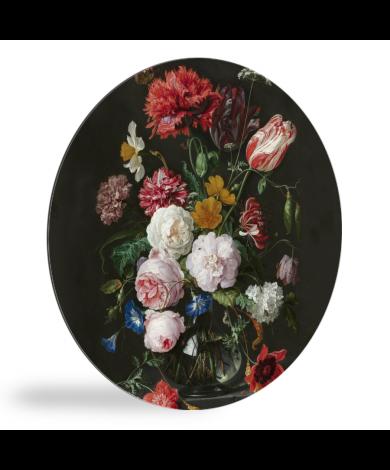 Stilleven met bloemen in een glazen vaas - Schilderij van Jan Davidsz de Heem wandcirkel
