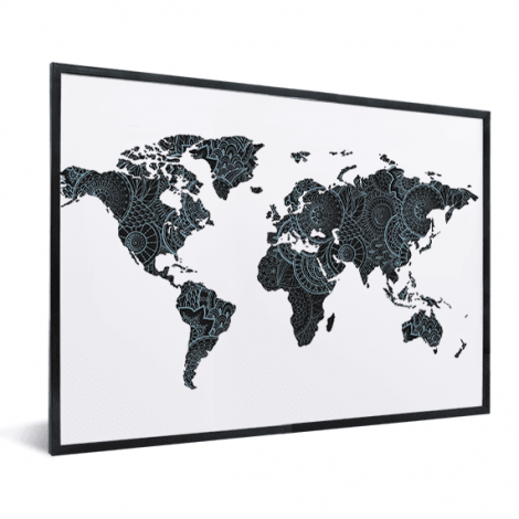 Aziatische print zwart-blauw in lijst