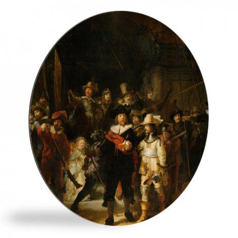 De Nachtwacht - Schilderij van Rembrandt van Rijn wandcirkel