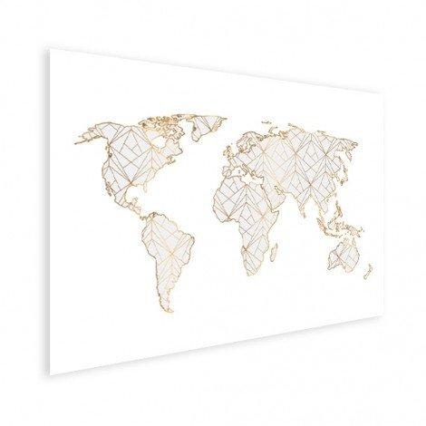 Geometrisch goud-lichtgrijs poster
