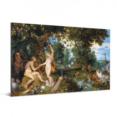 Het aardse paradijs met de zondeval van Adam en Eva - Schilderij van Peter Paul Rubens Aluminium