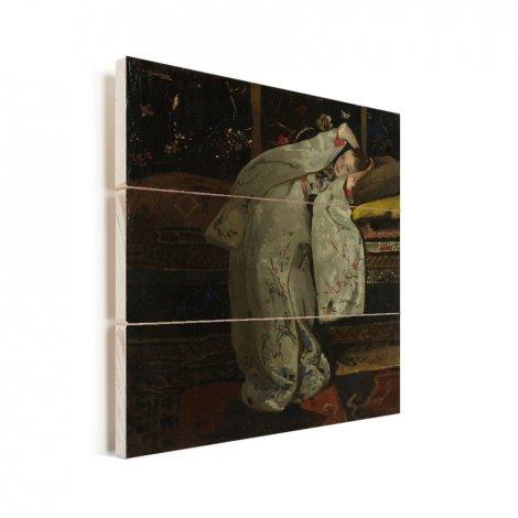 Meisje in witte kimono - Schilderij van George Hendrik Breitner Vurenhout met planken