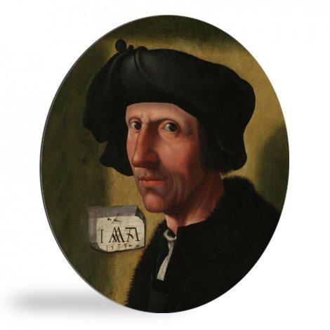Portret van Jacob Cornelisz van Oostsanen - Schilderij van Jacob Cornelisz van Oostsanen wandcirkel