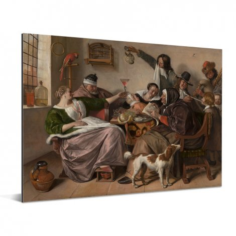 Soo voer gesongen soo na gepepen - Schilderij van Jan Steen Aluminium
