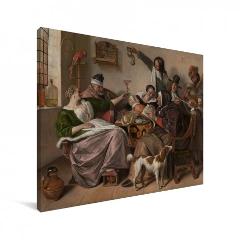 Soo voer gesongen soo na gepepen - Schilderij van Jan Steen Canvas