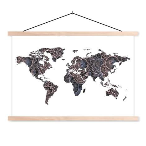 Aziatische print zwart-roze textielposter