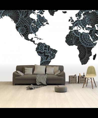 Aziatische print zwart-blauw behang