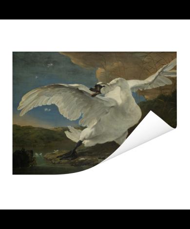 De bedreigde zwaan - Schilderij van Jan Asselijn Poster
