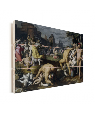 De kindermoord in Bethlehem - Schilderij van Cornelis Cornelisz van Haarlem Vurenhout met planken