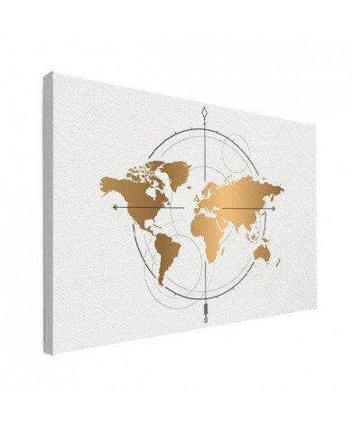 Kompas groot goud canvas
