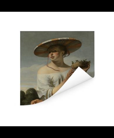 Meisje met een brede hoed - Schilderij van Caesar Boetius van Everdingen Poster