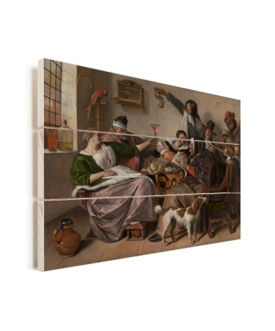 Soo voer gesongen soo na gepepen - Schilderij van Jan Steen Vurenhout met planken