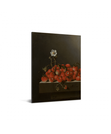 Stilleven met bosaardbeien - Schilderij van Adriaen Coorte aluminium