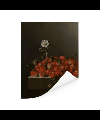 Stilleven met bosaardbeien - Schilderij van Adriaen Coorte Poster