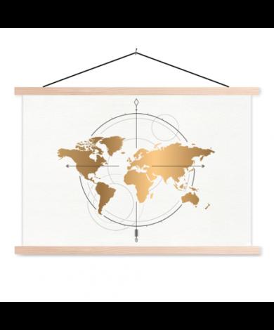 Kompas groot goud textielposter
