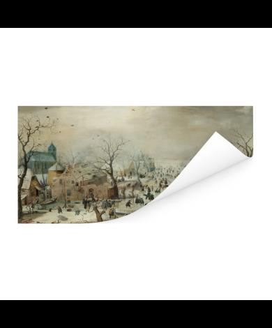 Winterlandschap met ijsvermaak - Schilderij van Hendrik Avercamp Poster
