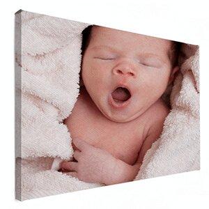 Babyfoto afgedrukt op linnen doek