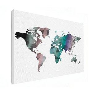 Hippe wereldkaart op canvas