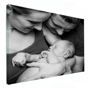 Zwart wit foto gezin op canvas