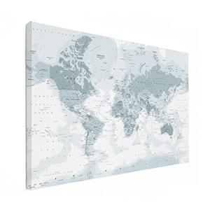 Gedetailleerde wereldkaart op canvas