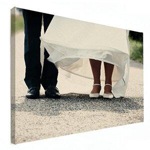Huwelijksfoto op canvas