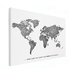 Wereldkaart zwart wit op canvas